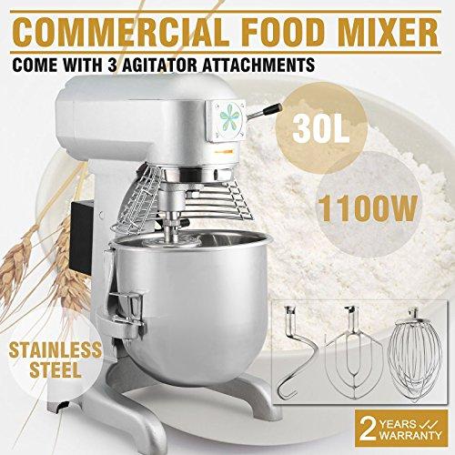 OrangeA Food Mixer Stand Mixer Electric Food Mixer Commercial Grade 30 Quart 15HP 1100W Electric Food Dough Mixer 3 Speed Silver Food Processor 30-Quart