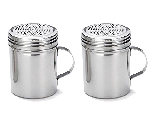 Great Credentials Stainless Steel Versatile Dredge Shaker Salt Sugar Shakers 10 Oz Each Set of 2 With Handle