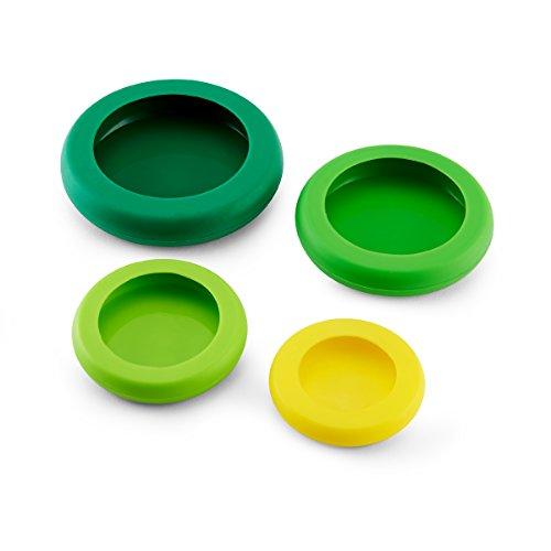 Farberware Food Huggers Reusable Silicone Food Savers Set of 4 Fresh Greens