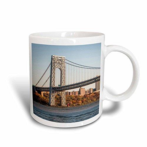 3dRose mug_205844_2 USA New Jersey Hudson River Basin View of George Washington Bridge Ceramic Mug 15 oz White