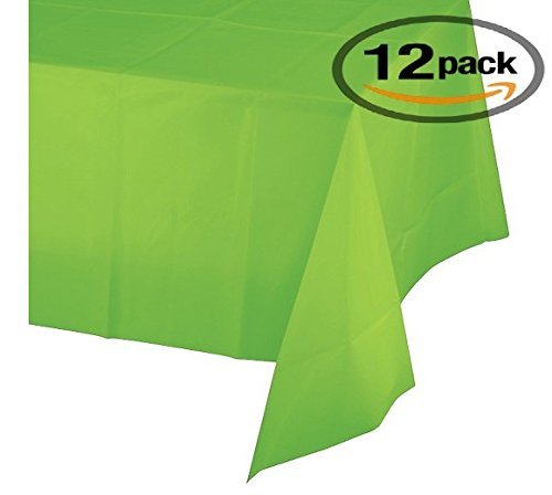 12-Pack Disposable Plastic Tablecloths - 54 x 108 Inch size Table Cloth – Ideal Rectangular Table Covers for Any Tables upto 8 Feet Long – Easy Clean-up of Post-Event Mess Lime Green