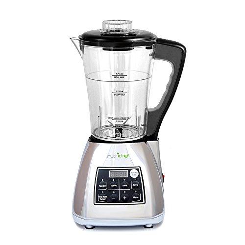 NutriChef PKSM240SS 3-in-1 Digital Electronic Soup Cooker Blender Juice Drink MakerSoy Milk Maker Silver Egg Steamer not included