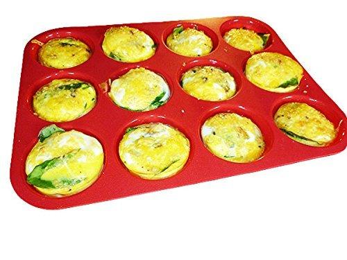 Keliwa 12 Cup Silicone Muffin - Cupcake Baking Pan  Non - Stick Silicone Mold  Dishwasher - Microwave Safe