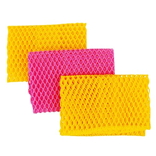 Innovative Dish Washing Net Cloths  Scourer - 100 Odor Free  Quick Dry - No More Sponges with Mildew Smell - Perfect Scrubber for Washing Dishes - 11 by 11 inches - 3PCS - YellowPinkYellow or PinkYellowPink