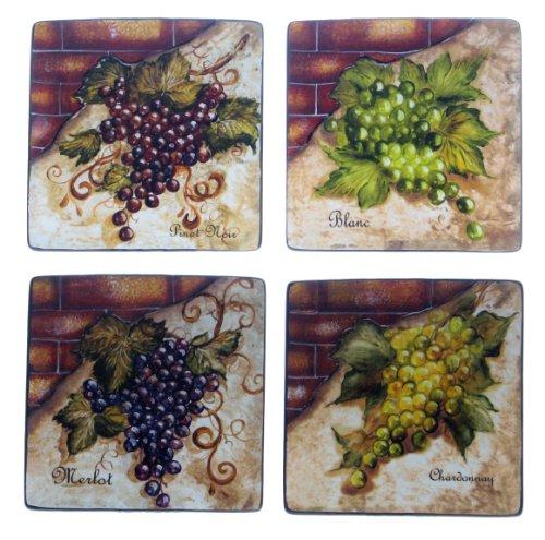 Certified International Wine Cellar 8-34-Inch Square SaladDessert Plate Assorted Designs Set of 4