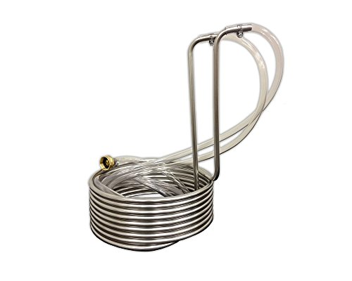 Coldbreak Brewing Equipment CB33825SSV Immersion Wort Chiller With Vinyl Tubing And Garden Hose Fitting 25 38 Wide 037 OD GHT Female Stainless Steel Silver