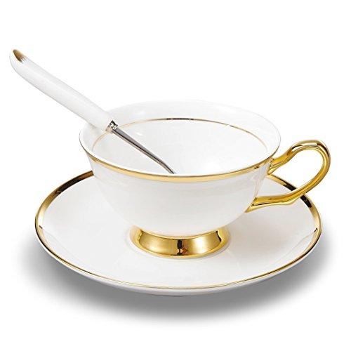 Panbado 3 Piece Bone China Tea Cup Saucer Set with Spoon Porcelain Gold Rimmed Teacup Coffee 200ml 68 oz IvoryGolden