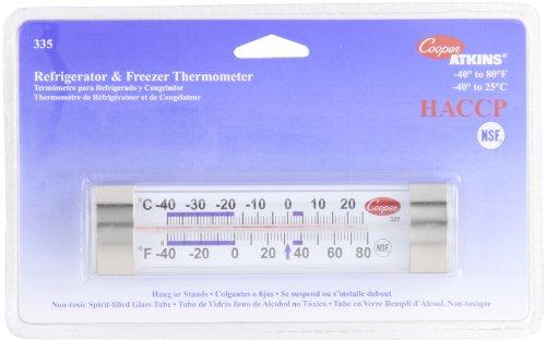 Cooper-Atkins 335-01-1 Commercial Refrigerator Thermometer Commercial Freezer Thermometer Glass Tube Thermometer Commercial Grade Thermometer