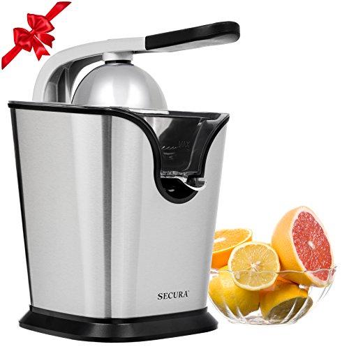 Electric Citrus Juicer Press  160-Watt Stainless Steel Orange Juice Squeezer GS-405Y by Secura