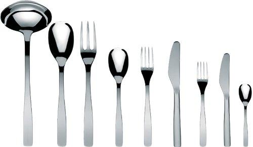 A Di Alessi Knifeforkspoon 75-Piece Set Includes Twelve Table Knives Monoblock and Twelve Dessert Knives Monoblock Mirror Polish