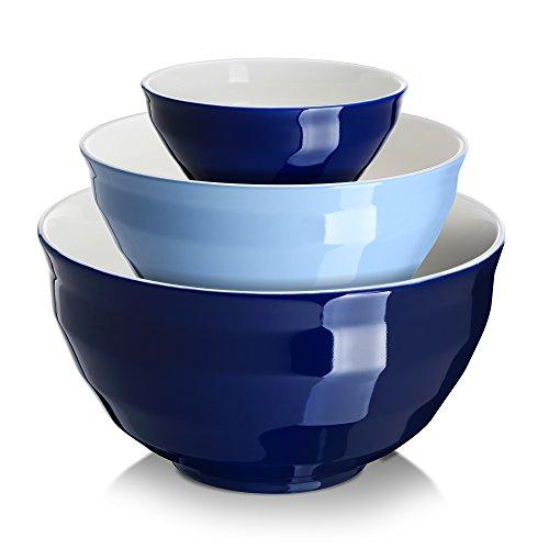 DOWAN Ceramic Mixing BowlsServing Bowl Set - 3 Packs Nesting Bowls