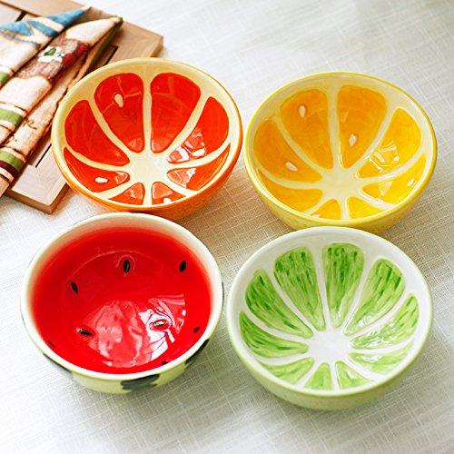 Oliadesign 4 Pieces Ceramic Bowl Set Lemon Lime Watermelon Grapefruit