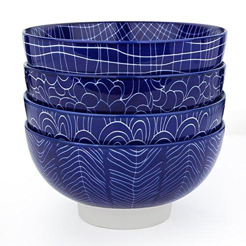 Vancasso 4-Piece Blue Glazed Patterned Porcelain Bowl Set China Ceramic 6 Dinner Service Rice Soup Cereal Bowls