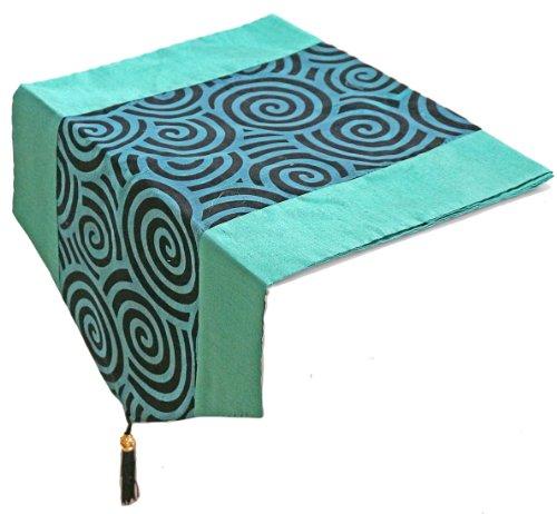 Artiwa Turquoise Silk Velvet Decorative Table Runner  Queen Size Bed Runner with Spiral Center Stripe 60 inch