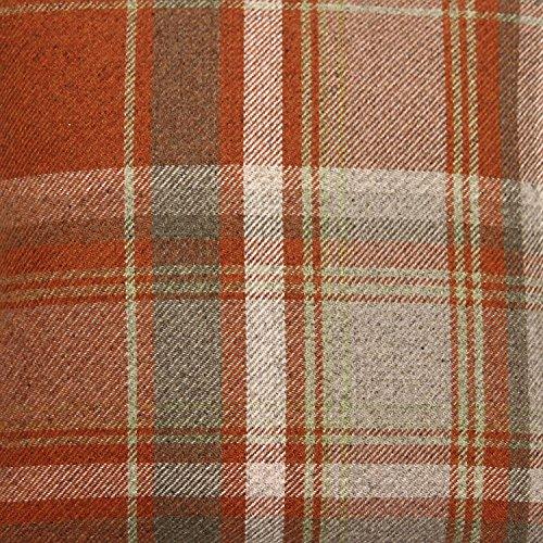 McAlister Heritage Decorative Table Runner  12x75  Burnt Terracotta Brick Orange Gray Plush Wool-Textured Flannel Plaid  Tartan Check Farmhouse Cabin Accent Décor