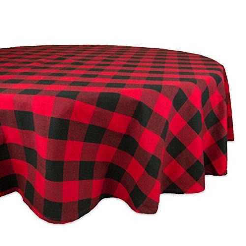 DII 70 Round Cotton Tablecloth Red Black Buffalo Check Plaid - Perfect for Fall Thanksgiving Christmas Farmhouse Décor Picnics Potlucks or Everyday Use