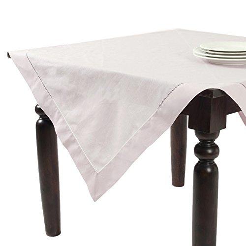Fennco Styles Handmade Basic Hemstitch Linen-Cotton Tablecloths - 65x140 Ecru
