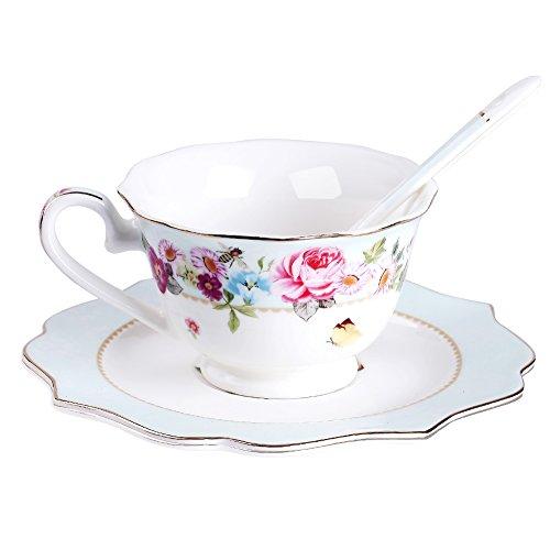 AWHOME Vintage Rose Bone China Teacup Spoon and Saucer Set Blue