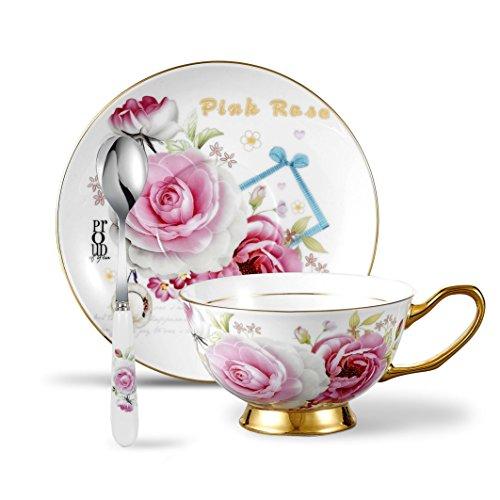 Panbado 3-Piece Bone China Tea Cup Saucer Set with Spoon 68 OZ Porcelain Gold Rimmed Teacup Coffee Set of 3200mlPink Rose