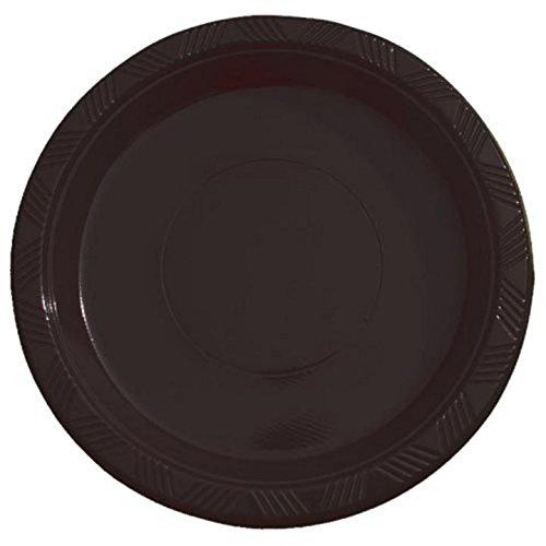 Exquisite 7 Inch Black Plastic DessertSalad Plates - Solid Color Disposable Plates - 100 Count