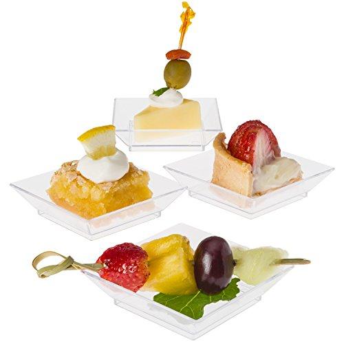Prextex Mini Dessert Plates 25x25 - 100 Sturdy Square Clear Mini Plastic Dessert Plates
