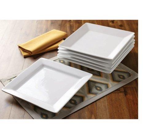 Better Homes and Gardens Square Porcelain Dinner Plates White Set of 6
