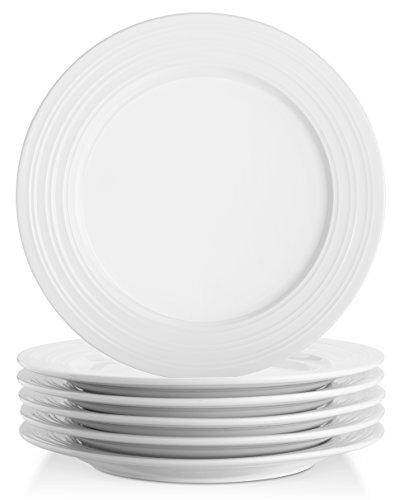 Lifver 10-inch Porcelain Dinner PlatesServing Platters with Embossed Ring Rim Round&Elegant White Set of 6