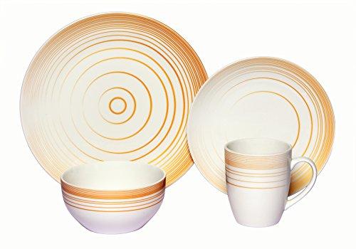 Melange Coupe 16-Piece Porcelain Dinnerware Set Gold Timber  Service for 4  Microwave Dishwasher Oven Safe  Dinner Plate Salad Plate Soup Bowl Mug 4 Each