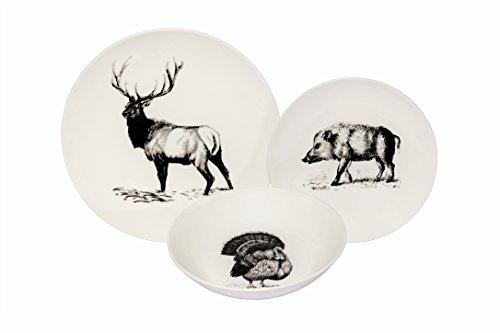 Melange Coupe 18-Piece Porcelain Dinnerware Set Wild Animals  Service for 6  Microwave Dishwasher Oven Safe  Dinner Plate Salad Plate Soup Bowl 6 Each