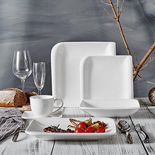 Vancasso 30 Pieces Cream White Porcelain Tableware Set of 6 x Dinner Plates Dessert Plates Soup Plates Cups Saucers Dining Service Combi Set for 6 Person