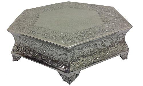 GiftBay Wedding Cake Stand Hexagonal Shape 14 Each Side Silver