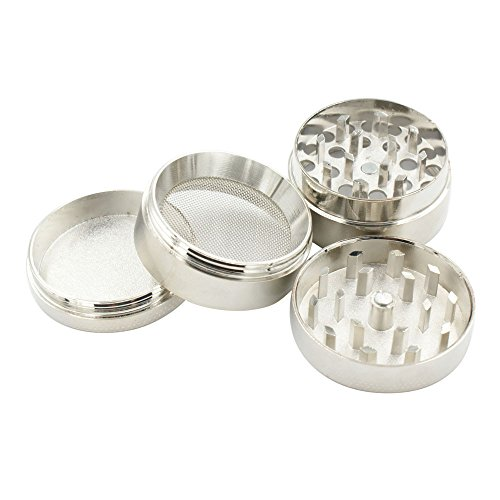 Buedvo New 4-layer Aluminum Herbal Herb Tobacco Grinder Smoke Grinders 43MM Silver3