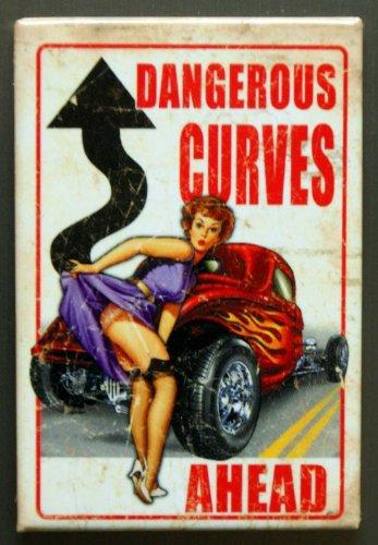 2x3 Dangerous Curves Ahead Distressed Retro Vintage Refrigerator Magnet