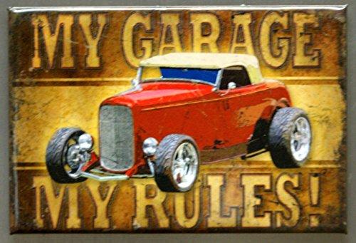 2x3 My Garage My Rules Hotrod Distressed Retro Vintage Refrigerator Magnet