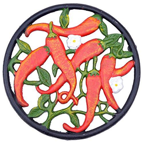 Decorative Cast Iron Trivet Hot Chilli Peppers 7 Wide