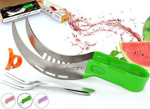 Vellostar Watermelon Slicer Corer Cutter Tongs and Server Set with ss304 Serving Fork Orange Peeler Kitchen-Grade 304 Stainless Steel Ergonomic Handle Watermelon Knife Green