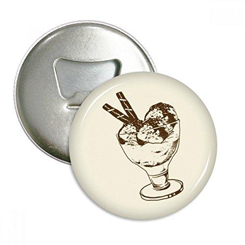 Brown Chocolate Bar Ice Glass Cream Ball Round Bottle Opener Refrigerator Magnet Badge Button 3pcs Gift