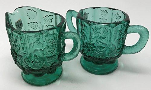 Fenton Art Glass Cream Sugar Set Spruce Green
