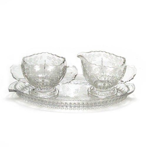 Flower Basket by New Martinsville Glass Cream Pitcher Sugar Bowl