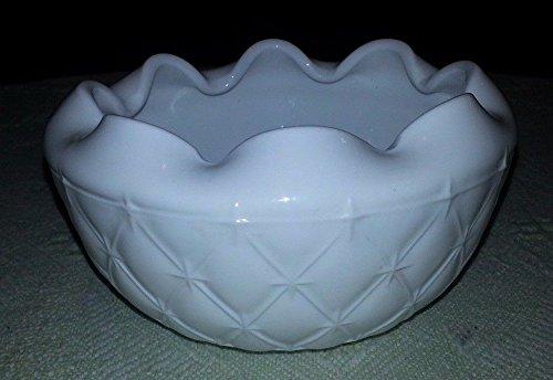 Vintage Milk Glass Candy Dish w Ruffled Rim Star Pattern