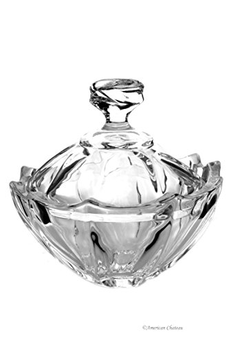 Vintage-Style Scalloped Rim Lead-Free Heavy Glass Candy Dish Bowl with Lid
