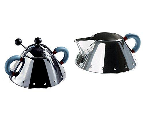 Alessi Michael Graves Series Stainless Steel Creamer Sugar Bowl Set - Blue