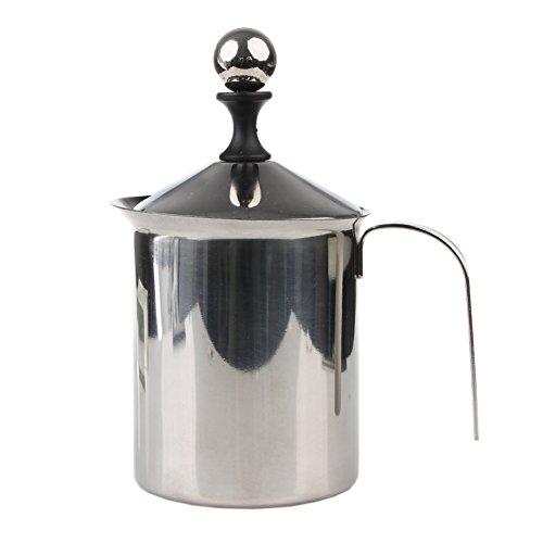 Kangnice 400 800ml Double Mesh Milk Frother Stainless Steel Creamer Foam Coffee Maker 800ml