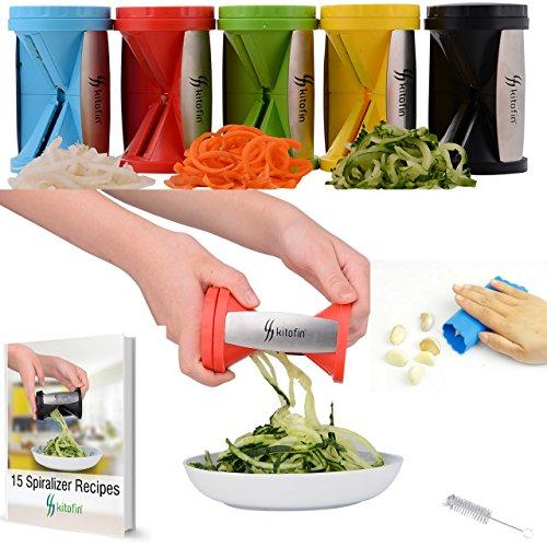 Kitofin Vegetable Spiral Slicer Spiralizer - Carrot Cucumber Zucchini Pasta Noodles Spaghetti Maker - Vegetable Peeler Cutter - Includes Garlic Peeler - Cleaning Brush - Recipes E-book