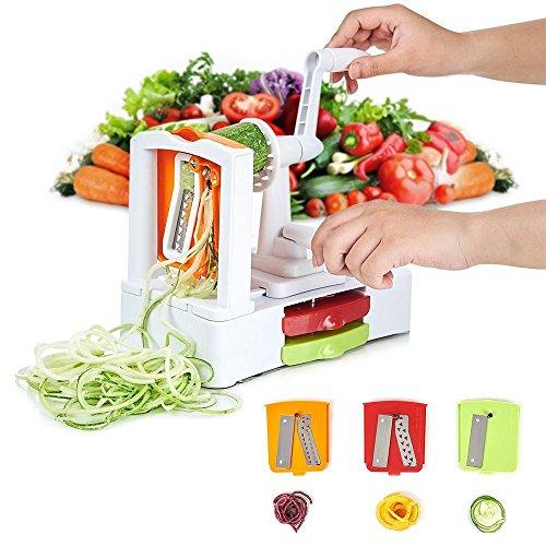 Spiral Vegetable Slicer 3-BladeHommini Stainless Steel Spiralizer  SlicerStrongest Heavy-Duty Salad Veggie Pasta Spaghetti Maker with Suction Mandoline Slicer Zucchini Ribbon Spiral Fruit Cutter
