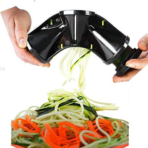 Tri-Blade Spiralizer Vegetable Slicer Complete Bundle ACMETOP Premium Veggie Spiralizer Cutter for Cucumber Carrot Zucchini Spaghetti Pasta Noodle Zoodle Maker – Include Peeler Brush
