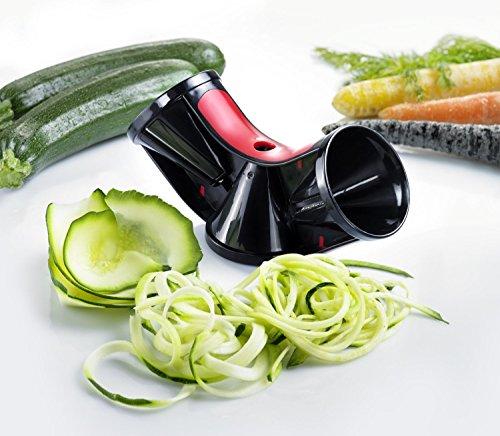 Westmark Stainless Steel Tri-Blade Vegetable Spiral Slicer Spiralizer Julienne Cutter RedBlack