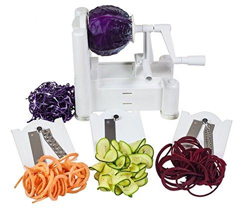 Vegetable Spiralizer 3-Blades - Zucchini Spaghetti Maker veggie noodle maker - for Low CarbPaleoVeganRawGluten-Free Meals- Professional Spiral Vegetable Slicer Kitchen cutter Tool white