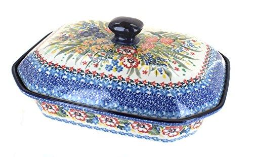 Polish Pottery Hummingbird Large Covered Baking Dish