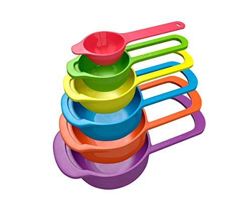6 Pc Set Of Plastic Nested Measuring Cups And Spoons. Stackable Space Saving Multicolor Design.